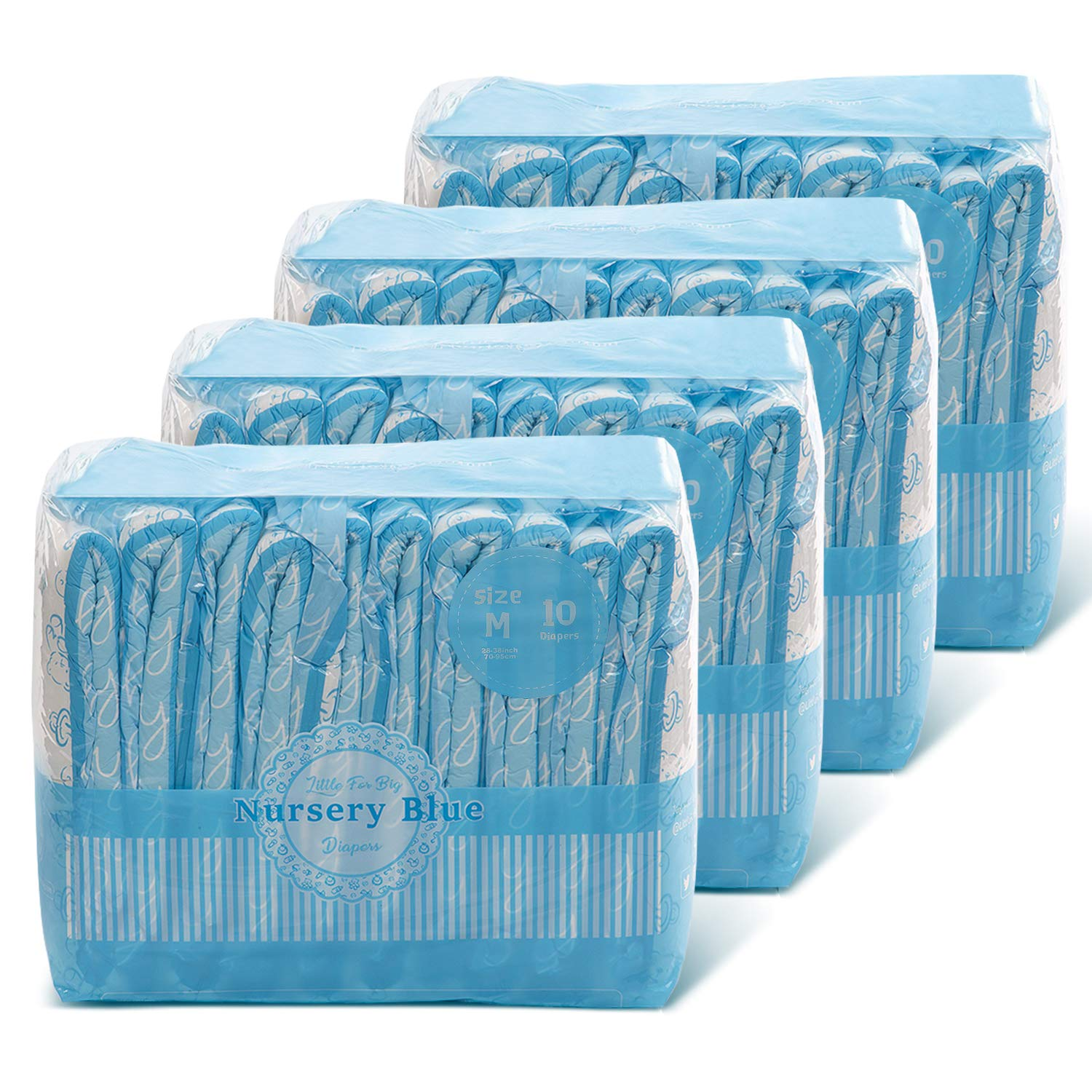 Littleforbig Printed Adult Brief Diapers Adult Baby Diaper Lover ABDL 40 Pieces (4 Packs) - Nursery Blue(M)