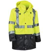 Ergodyne GloWear 8365BK Rain Jacket, Black Bottom, High Visibility, Reflective, ANSI Compliant