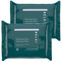Belei Hydrating Facial Cleansing Wipes, Ophthalmologist Tested, Fragrance Free, Alcohol Free, 50 Count (Two packs of 25 wipes)