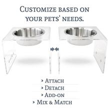 """PetFusion Elevated Dog Bowls, Cat Bowls. [Attach, Detach, Add On, Mix Match Short 4"""" & Tall 8""""]. Buy Singles or Pairs"""