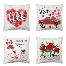 pinata Valentine Throw Pillow Cover 18x18 Set of 4 Dacorative Pillow Case Valentines Day Decor for Home Sofa Couch Piato Outdoor with Happy Valentines Day Flowers Red Truck Love Heart Bycle Design