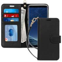 FYY Luxury Genuine Leather Wallet Case for Samsung Galaxy S8, [Kickstand Feature] Flip Phone Case Protective Cover with [Card Holder] [Wrist Strap] for Samsung Galaxy S8 Black