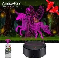 Unicorn Night Light - 3D Unicorn Lamp 7 Colors Optical Illusion Touch & Remote Control - Best Birthday Christmas New Year Gifts for Girls Kids Baby(Unicorn, Fairy)