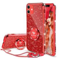 OCYCLONE Cute iPhone 11 Case, Glitter Luxury Bling Diamond Rhinestone Bumper with Ring Grip Kickstand Protective Thin Girly Pink iPhone 11 Case for Women Girl [6.1 inch] 2019 - Red