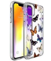 SPEVERT iPhone 11 Case 6.1 inches, Flower Pattern Printed Clear Design Transparent Hard Back Case with TPU Bumper Cover for iPhone 11 6.1 inch 2019 Released - Butterfly