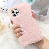 for iPhone 11 Case Cute Girly Faux Fur Case with Chic Bling Crystal Diamond Bowknot Flexible Silicon Soft Fluffy Furry Shockproof Protective Phone Case for iPhone 11 Pink