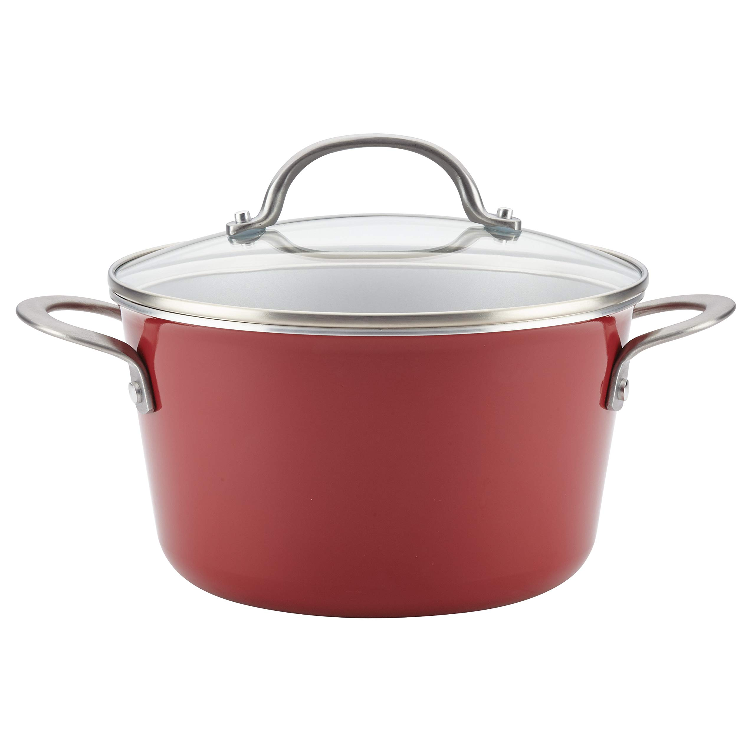 Ayesha Curry 10744 Home Collection Nonstick Sauce Pan/Saucepan with Lid, 4.5 Quart, Red