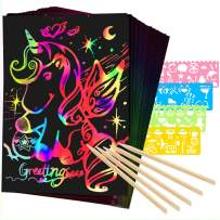 Mocoosy 60Pcs Scratch Art Paper For Kids - Rainbow Magic Scratch off Paper Art And Craft Kit Scratch Note Black Doodle Pads with 4 Stencils 5 Wooden Stylus for Party Favor Game Activities Gift