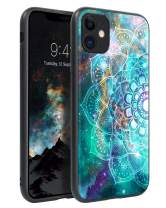 BENTOBEN iPhone 11 Case, Slim Thin Glow in The Dark Hybrid Hard PC Soft Rubber Drop Protection Shockproof Bumper Anti-Scratches Non-Slip Phone Case Cover for 6.1 Inch iPhone 11 2019, Mandala in Galaxy
