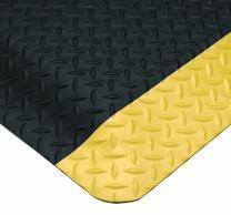"Wearwell 414.1516x3x75BYL Diamond-Plate SpongeCote Ultrasoft Mat, 3' Width x 75' Length x 15/16"""" Thickness, Black/Yellow"