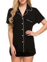luxilooks Women Pajamas Set Short Sleeve Sleepwear Button Down Nightwear Pjs XS-XXL