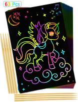 Scratch Painting Paper 55Pc Black Scratch Paper Arts and Crafts for Kids Ages 6 7 8 9 LUDILO Magic Rainbow Scratch Off Art Crafts Sheet with 8 Wooden Stylus for Party Game Birthday Gift Supplies