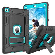 GUAGUA iPad Air 2 Case Kickstand 3 in 1 Hybrid High Impact Rugged Heavy Duty Full-Body Shockproof Drop Protection Shock Resistant Cover Durable Tablet Case for iPad Air 2 A1566 A1567 Black/Blue