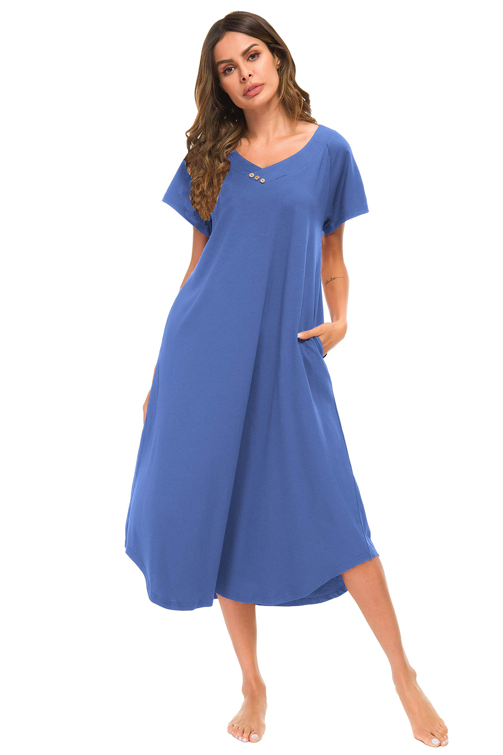 YOZLY Nightshirt Women Soft Caftan Loungewear Cotton Lounge House Dress Long Nightgown