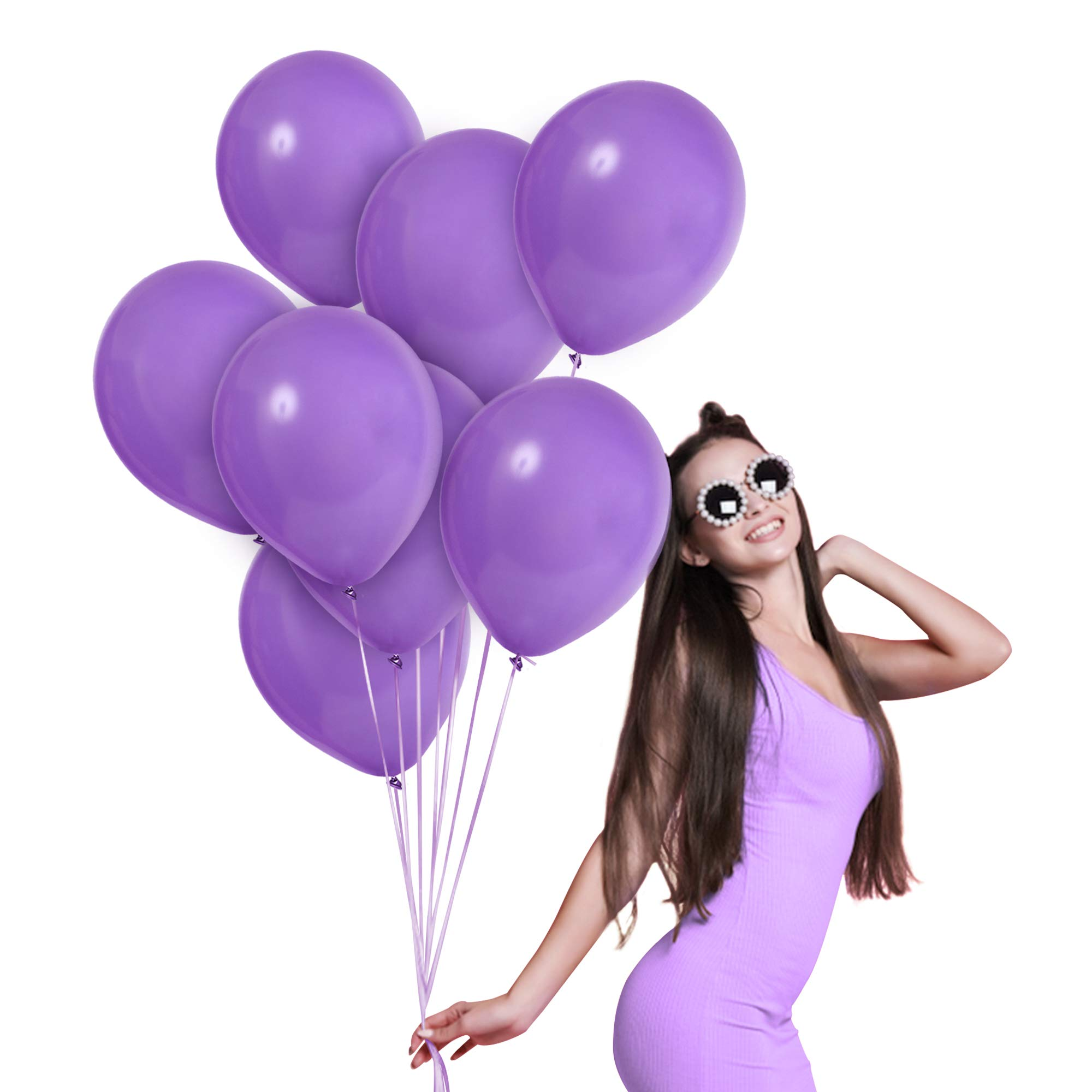 Matte Solid Lavender Lilac Balloons Pack of 72 Thick Opaque Light Purple Latex 12 Inch for Engagement Wedding Bridal Shower Bachelorette Birthday Graduation Party Supplies