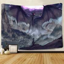 Simsant Anime Manga Tapestry Wall Hanging Dragon Warrior Fantasy Digital Blanket Backdrop for Bedroom Living Room Dorm Dormitory Wall Decor 80x60 Inch SIZY0766