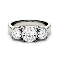 Forever One Round 6.5mm Three Stone Moissanite Ring, 2.00cttw DEW (D-E-F) by Charles & Colvard