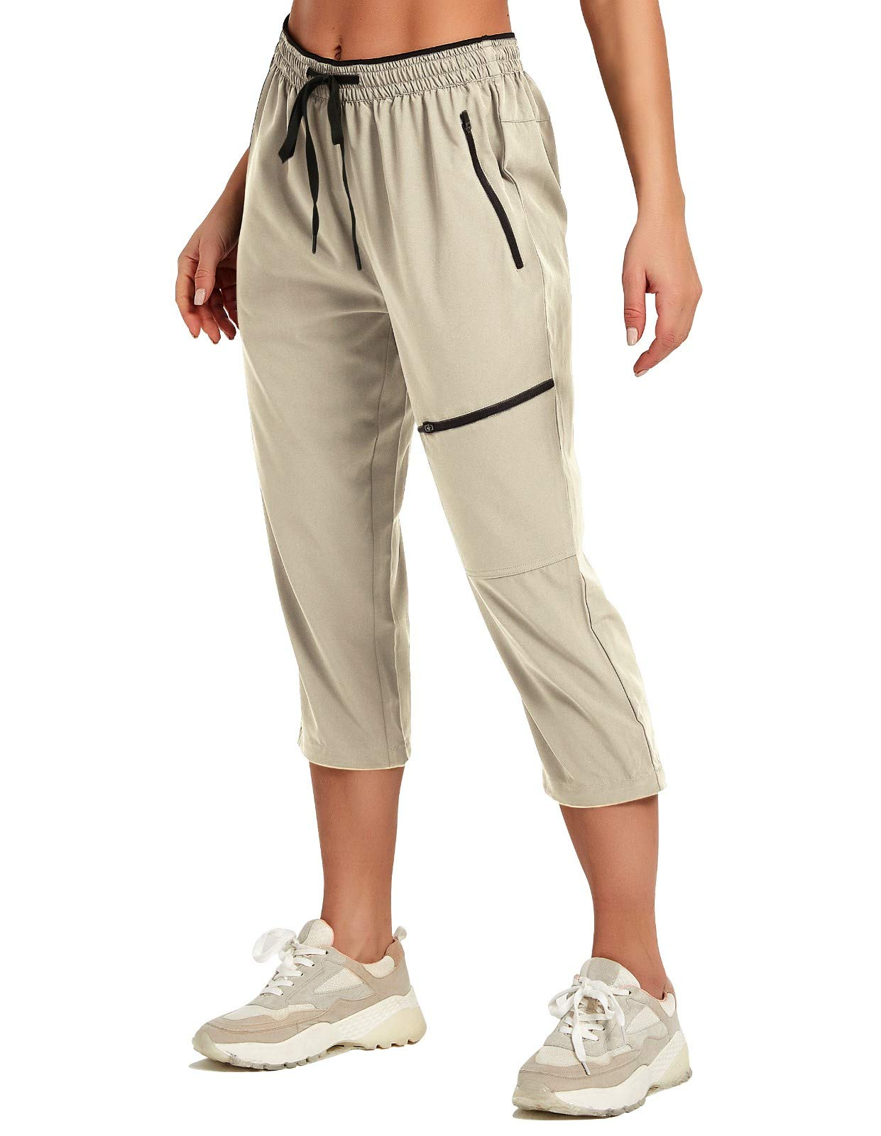 SPECIALMAGIC Women's Hiking Capris Pants Casual Summer Quick Dry Lightweight Stretch Running Joggers with Zipper Pockets