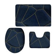 CHAQLIN Funny Modern Home Decor Bathroom Carpet/Contour/Lid Cover Anti-Slip 3 Piece Set Washable (Wood)