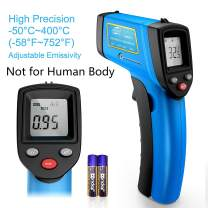 RISWOJOR Laser Infrared Thermometer Non-Contact Digital Temperature Gun,Adjustable Emissivity &MAX/MIN/at/Cal; -58°F~752°F(-50°C~400°C) IR Thermometer for Industrial,Kitchen Cooking,Ovens