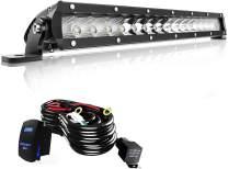 AUSI LED Light Bar 17Inch 80W Single Row Offroad Driving Lights Spot Flood Combo Bumper Grill Lamps + Wiring Harness For Boat Jeep ATV Truck UTV Polaris RZR Cars
