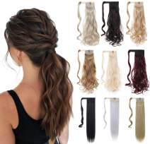 """XBwig Ponytail Hair Extension 18"""" 23"""" Clip In Straight Curly Drawstring Hairpiece Synthetic Wrap Around Hair Piece For Women 90G(18"""" Gray Mix Bleach Blonde)"""