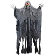 ATDAWN 5.6 Ft Hanging Screaming Ghost Decoration, Halloween Skeleton Grim Reaper Door or Wall Curtain for Haunted House Prop Decoration, Black
