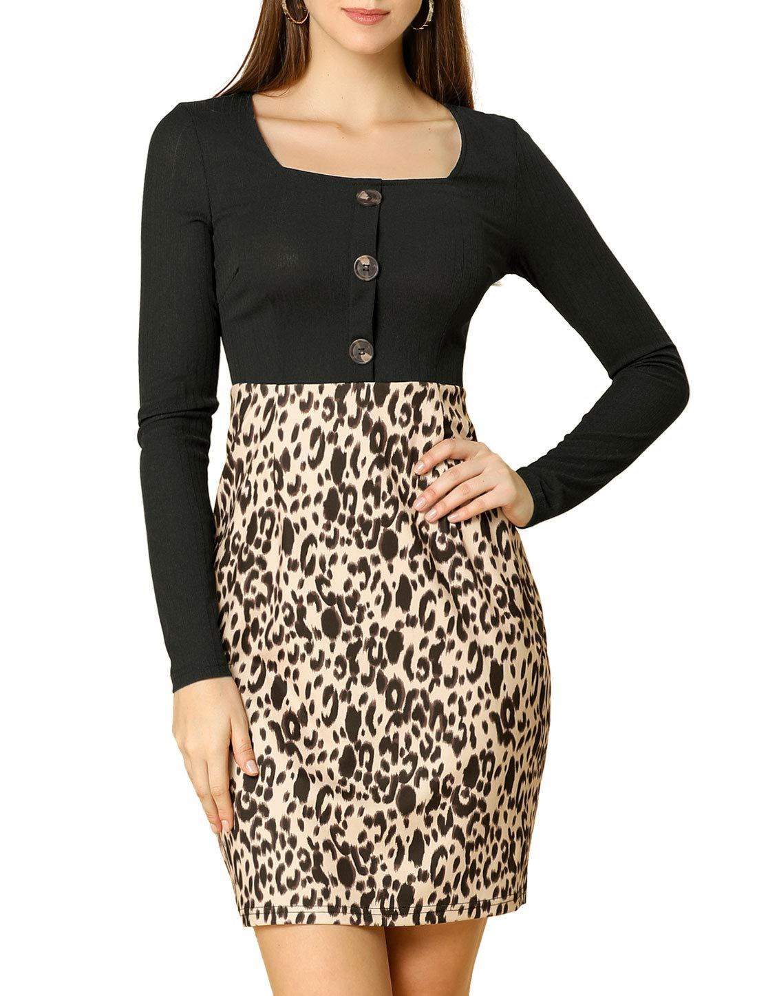 Allegra K Women's Leopard Print Square Neck Long Sleeves Button Bodycon Dress
