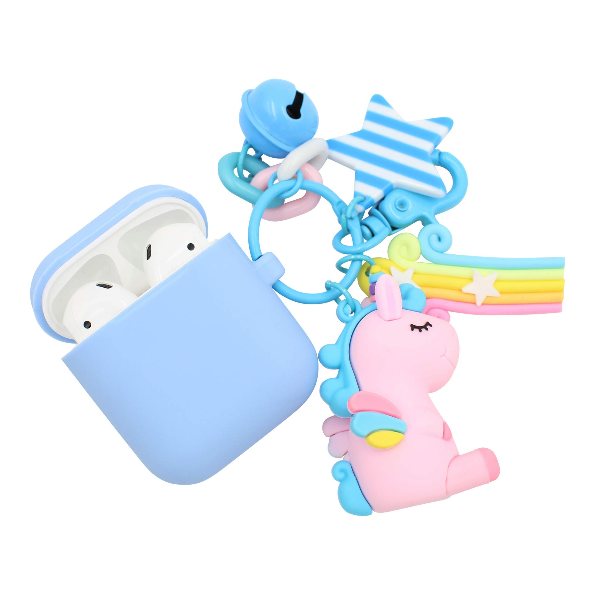 REAL SIC Premium Silicone AirPod Case Keychain with Carabiner - Compatible AirPods Keychain Protective Case - Colorful Key Fob Cover for Wireless Headphones (Powder Blue Unicorn)