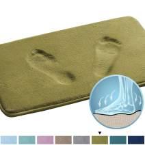 Original Thick Memory Foam Bath Rug (32x20) Cushioned Soft Floor Mats, Absorbent Kids Bathroom Mat Rugs, Machine Wash + Dry, Luxury Plush Comfortable Carpet for Bath Room (Olive)