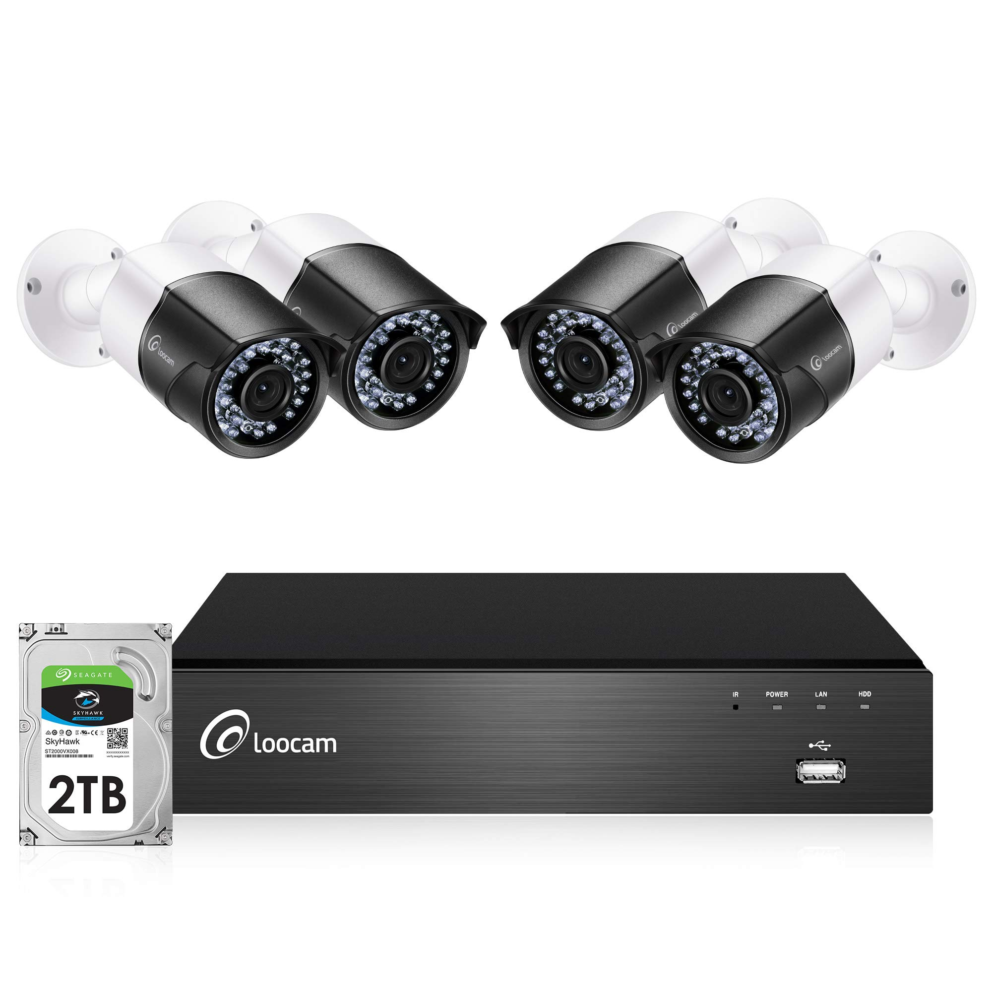 Loocam 1080p 8CH PoE Video Surveillance System, 4pcs Wired Outdoor 1080p PoE IP Cameras, 1080p 8 Channel NVR Security System with 2TB HDD