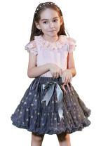 BUENOS NINOS Baby Girl's Multi-Layer Dance Tutu Skirt Fluffy Tulle Chiffon Ballet Pettiskirt with Shinning Star