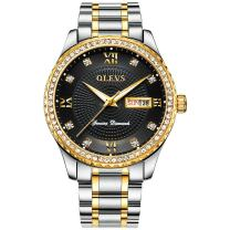 OLEVS Watch,Mens Watch Rhinestone Analog Quartz Watch Men's Calendar Business Dress Wristwatch Waterproof Stainless Steel Band Luxury Casual Black Gold Men's Sports Watch