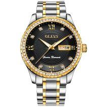OLEVS Watch,Mens Watch Rhinestone Analog Quartz Watch Men's Calendar Business Dress Wristwatch Waterproof Stainless Steel Band Luxury Casual Black Gold Men's Sports Watch