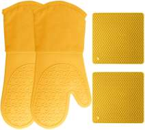 HOMWE Silicone Oven Mitts and Pot Holders, 4-Piece Set, Heavy Duty Cooking Gloves, Kitchen Counter Safe Trivet Mats, Advanced Heat Resistance, Non-Slip Textured Grip (Yellow)