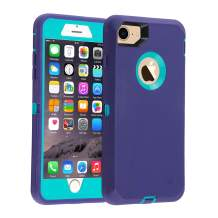 Co-Goldguard Case for iPhone 7 Heavy Duty iPhone 8 Cover Durable 3 in 1 Built-in Screen Protector Hard Cover Dust-Proof Shockproof Drop-Proof Shell