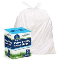 Freedom Living Biodegradable Heavy Duty White Trash Bags with Handle Ties for Kitchen, Yard, Lawn, Contractor, Janitorial or Office (5 Gallon 4 Rolls 72 Count)