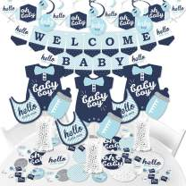 Big Dot of Happiness Hello Little One - Blue and Silver - Boy Baby Shower Supplies - Banner Decoration Kit - Fundle Bundle