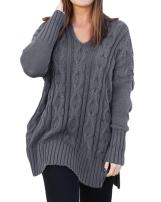 Womens Casual Cable Knit V Neck Side Slit Oversized Solid Pullover Sweater Tops