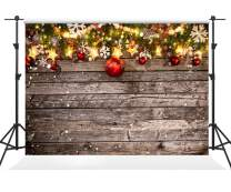 Kate 10×10ft Christmas Decoration on Wooden Backdrops Wood Christmas Backdrops with Red Balls Xmas Background for Party Decoration Photography Pictures