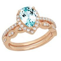 Dazzlingrock Collection 14K 9X6 MM Pear Gemstone & Round Diamond Ladies Teardrop Engagement Ring With Matching Band Set, Rose Gold