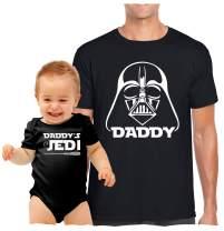 Inspired by Star Wars, Dad Son Tee, Cute Onsie,Darth & Jedi - Black,Mens (X-Large) & 3-6 Month