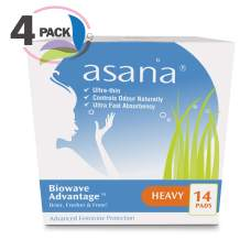 Asana Heavy Flow Sanitary Pads with Wings for Women – Ultra-Absorbent, Latex Free, Chemical Free, Naturally Helps Prevent Odor Caused from Yeast Candida – 14 Count - Pack of 4