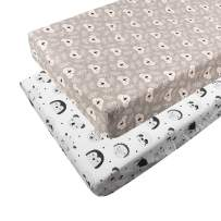 ALVABABY Changing Pad Covers 2 Pack 100% Organic Cotton Soft and Light Baby Cradle Mattress for Boys and Girls 2TCZ07