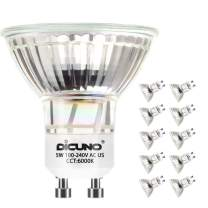DiCUNO GU10 LED Bulbs 5W Daylight White, 6000K, 500lm, 120 Degree Beam Angle, 50W Halogen Bulbs Equivalent, Non-dimmable MR16 LED Light Bulbs, 10-Pack
