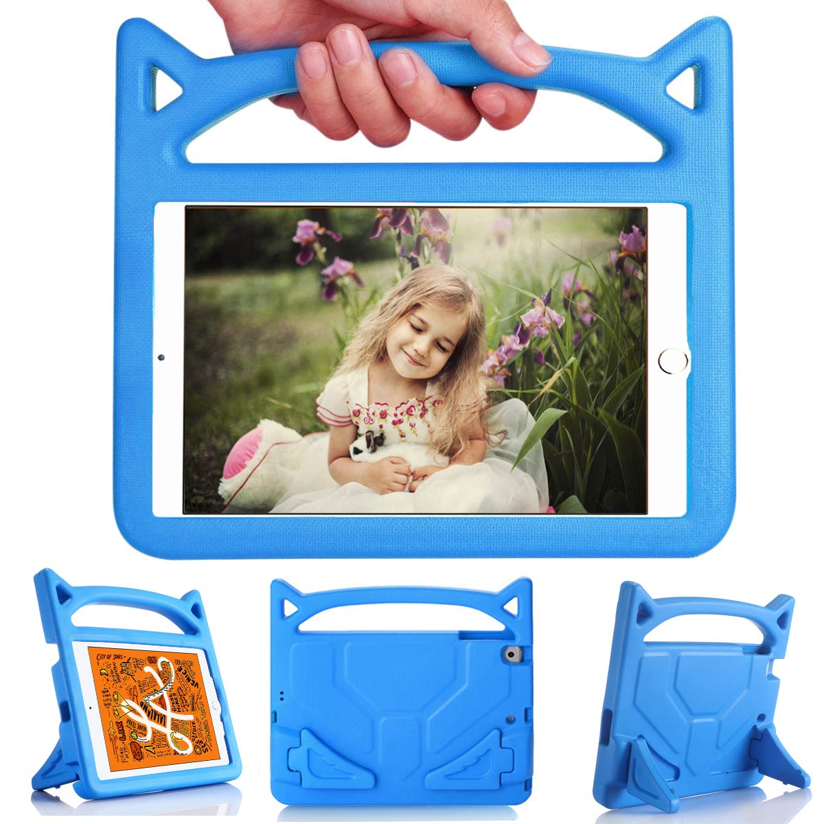 iPad Mini 5 4 3 2 1 Case for Kids, OQDDQO 2019 New Shockproof Case with Stand and Handle, Compatible with Ipad Mini 5th/4th/3th/2th/1th Generation Tablet, Designed for Boys and Girls (Blue)