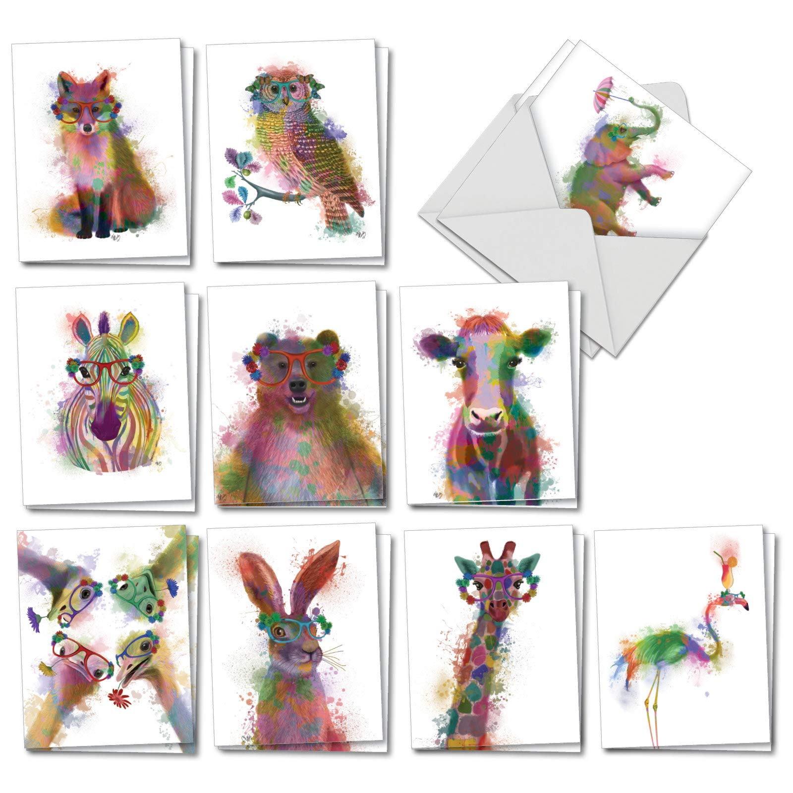 Funky Rainbow Wildlife - 20 Watercolor Blank Note Cards with Envelopes (4 x 5.12 Inch) - Boxed All Occasion Animal Cards - Cute Assorted Notecard Set for Kids (2 Each, 10 Designs) AM4948OCB-B2x10