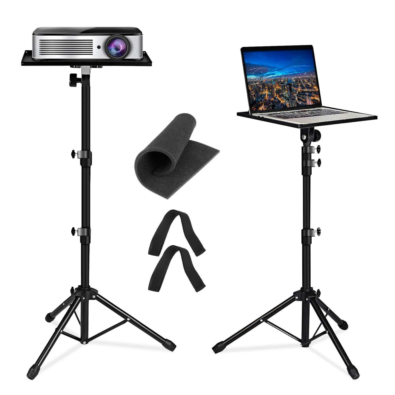 Projector Tripod Stand, NASUM Universal Laptop Tripod Adjustable Height 23 to 63 Inch Projector stand Detachable Computer DJ Equipment Stand Folding Laptop Floor Stand for Stage, Studio, Home & Office