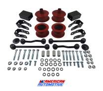 """American Automotive Compatible with Wrangler JL Full Lift Kit 3"""" Front + 2.5"""" Rear Red Steel Coil Spacers, Sway Bar and Shock Extenders Suspension Leveling Lift Kit 2WD 4WD"""