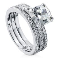BERRICLE Rhodium Plated Sterling Silver Cushion Cut Cubic Zirconia CZ Solitaire Engagement Wedding Ring Set 3.37 CTW